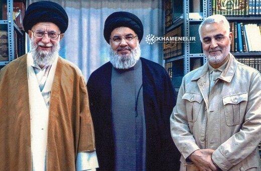 یک تصویر جدید و منتشر نشده از سردار سلیمانی و سید حسن نصرالله در کنار رهبر انقلاب