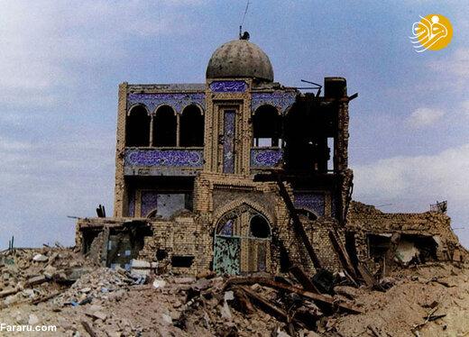 مسجد سیدالشهدا در خرمشهر پس از بمباران