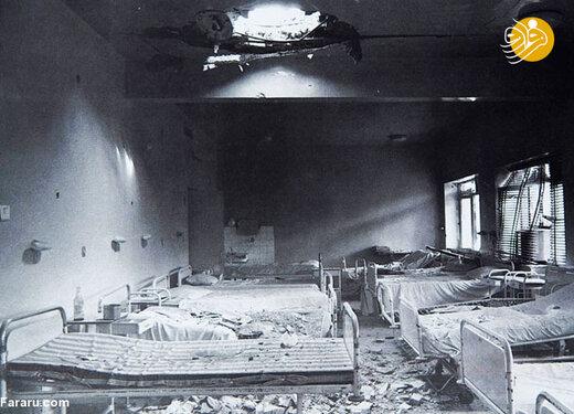 ویرانه های بیمارستان آبادان پس از بمباران