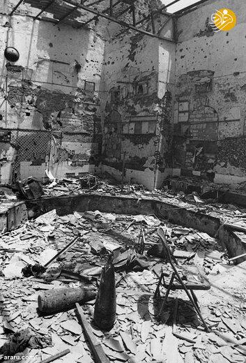 ویرانه های یک زورخانه پس از بمباران