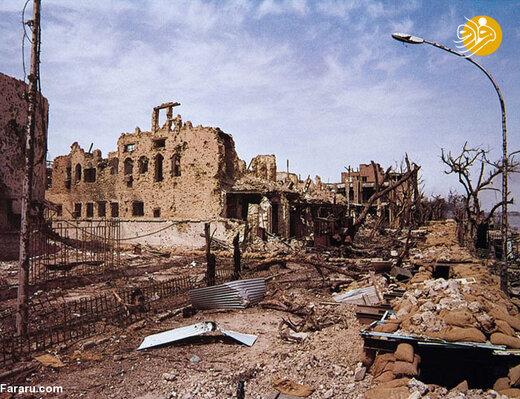ویرانه های خرمشهر پس از بمباران