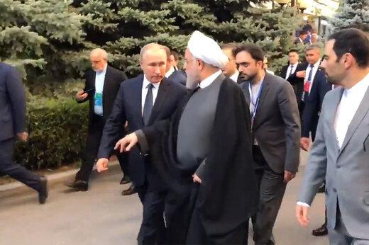فیلم | پیادهروی و گفتوگوی روحانی و پوتین در ارمنستان
