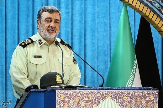 سخنرانی سردار حسین اشتری فرمانده ناجا به مناسبت هفته نیروی انتظامی پیش از خطبه های نماز جمعه تهران