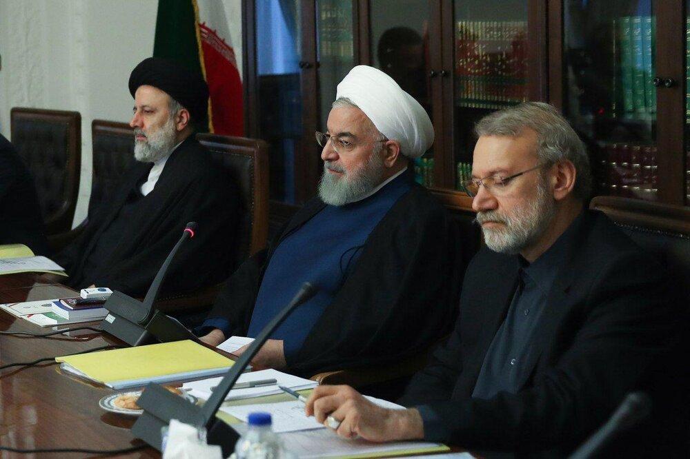5273140 - تصویری از روحانی، لاریجانی و رئیسی در جلسه شورای عالی فضای مجازی