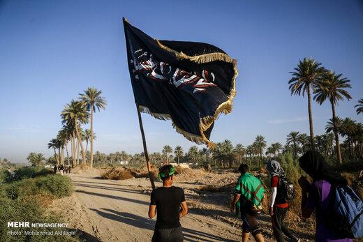 پیاده روی زائران اربعین در منطقه الجربوعیه استان بابل
