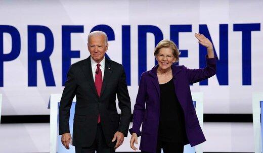 ژست گرفتن الیزابت وارن و جو بایدن، نامزدهای انتخابات ریاستجمهوری ۲۰۲۰ آمریکا، در آغاز چهارمین مناظره انتخاباتی نامزدهای دموکرات انتخابات ریاست جمهوری در دانشگاه شهر وسترویل ایالت اوهایو
