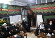 تصویری از آیات عظام جوادی آملی، علوی بروجردی، نوری همدانی و یزدی در مراسم عزاداری اربعین