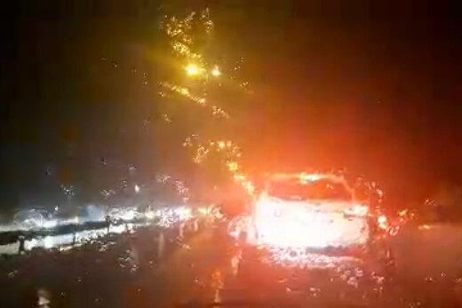 فیلم | باران شدید و رعد و برق در آسمان تهران