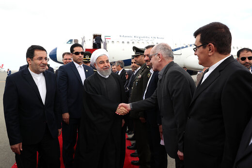 President Rouhani arrives in Baku to attend NAM Summit