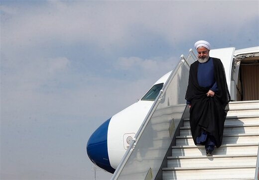 Rouhani back home from Baku