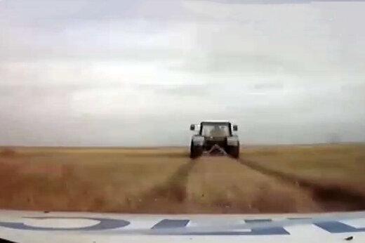 فیلم | تعقیب و گریز پلیس با تراکتور متخلف