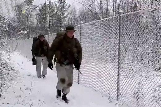 فیلم   تمرین نظامی تفنگداران دریایی آمریکا در هوای منجمد نروژ