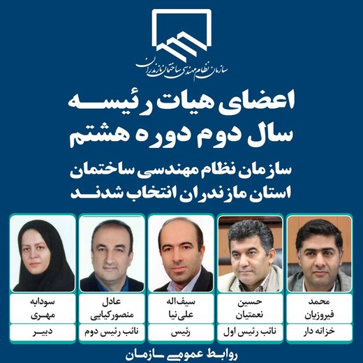 اعضای هیأت رئیسه سازمان نظام مهندسی ساختمان مازندران انتخاب شدند
