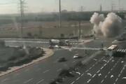فیلم   لحظه اصابت راکت به بزرگراهی در فلسطین اشغالی