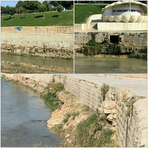 تخریب پی دیوار حفاظتی رودخانه خرم آباد بر اثر برداشتهای بی رویه و غیراصولی