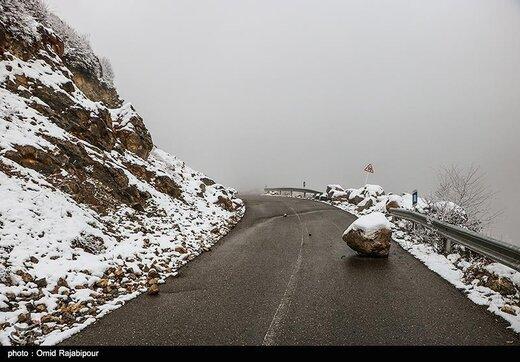 بارش برف در جادههای این ۴ استان