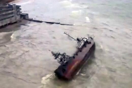 فیلم | واژگونی کشتی نفتی در طوفان اوکراین