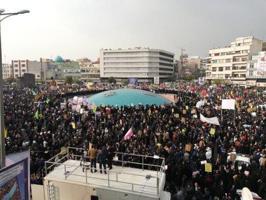 قطعنامه تجمع بزرگ مردم تهران در محکومیت اغتشاشات پس از اصلاح قیمت بنزین