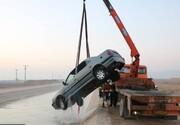 سقوط پژو پارس در کانال صحرای انقلاب خوراسگان