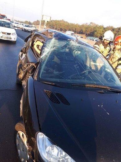 مرگ رانندگان تیبا و ۲۰۶ پس از تصادف شدید