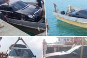 عکس | کشف بنز قاچاق از یک قایق در ساحل میناب هرمزگان