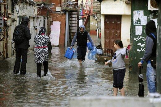 آبگرفتگی خیابانها در لبنان