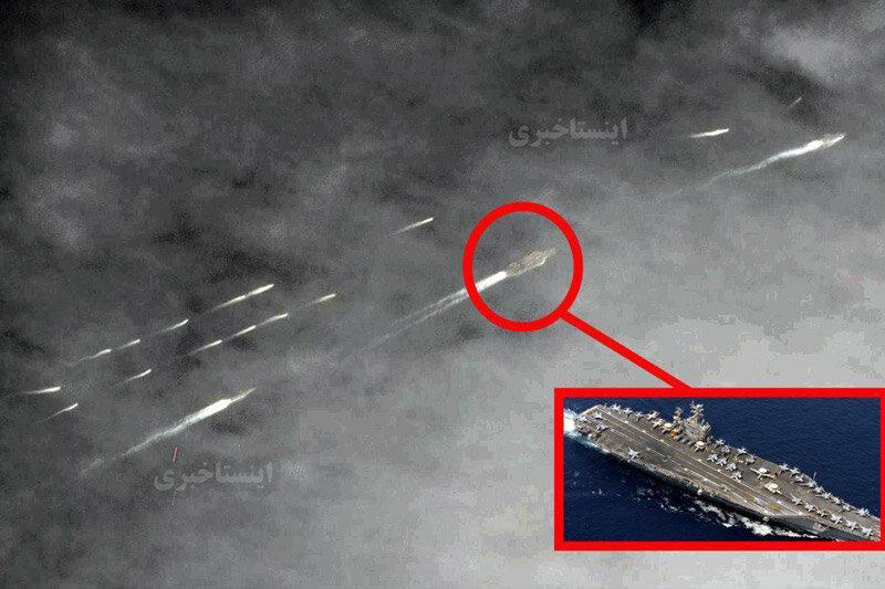 ببینید | تصویر ماهوارهای از قایقهای تندروی سپاه در نزدیکی ناو هواپیمابر آبراهام لینکن آمریکا در خلیج فارس