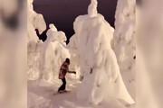 فیلم | متفاوتترین اسکی روی برف در شب سال نو