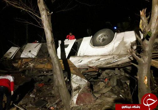 سقوط اتوبوس به ته دره با ۱۹ کشته در محور سوادکوه/ عکس