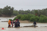 ببینید | بارش باران در شهر سیلزده بنت در سیستان و بلوچستان