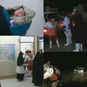نجات دو زن باردار که اسیر سیلاب شده بودند