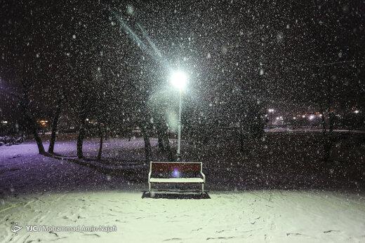 بارش شبانه برف در همدان