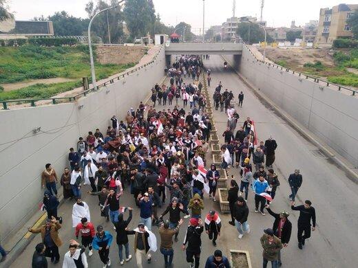الحشود المليونية تتوافد نحو مسيرة طرد الامريكي من العراق
