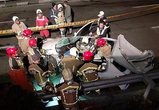 درهم پیچیده شدن اتاقک پژو ۲۰۷ پس از تصادف شدید/ تصاویر