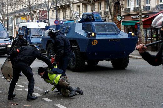 فیلم | برخورد بسیار خشن پلیس اسپانیا با کشاورزان معترض