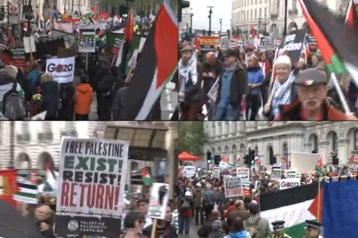 فیلم   تظاهرات ضد توطئه قرن مقابل سفارت آمریکا در لندن