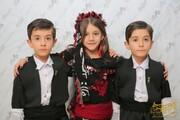 عکس | سه بازیگر کودکِ فیلم «زیر درخت گردو» با لباسهای زیبای کردی