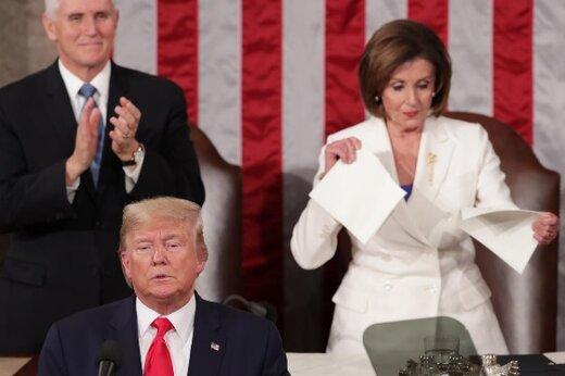 بازگشت شکوهمندانه آمریکا؛با پاره کردن سخنرانی رئیس جمهور!/پمپئو با انتشار عکسی ازسیمپسون ها، پلوسی را مسخره کرد
