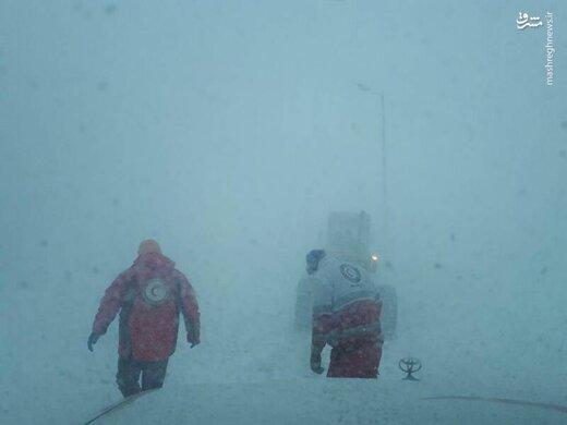 برف و کولاک در محور خلخال - اسالم