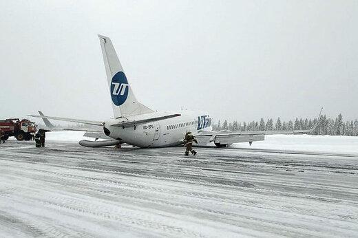 فیلم | خروج هواپیمای بوئینگ 737 از باند در فرودگاه اوسینسک روسیه