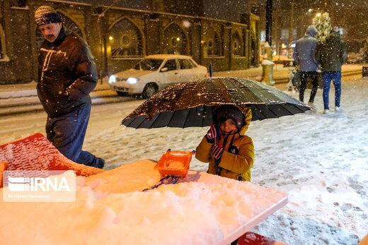 بارش شدید برف در شهر تبریز