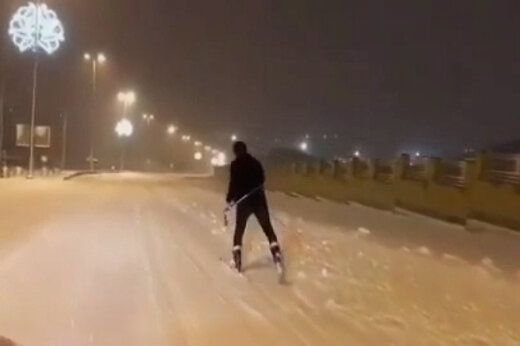 ببینید | اسکی شبانه در خیابانهای تبریز