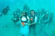 ببینید | جشن ازدواج زوج تایلندی در زیر آب!