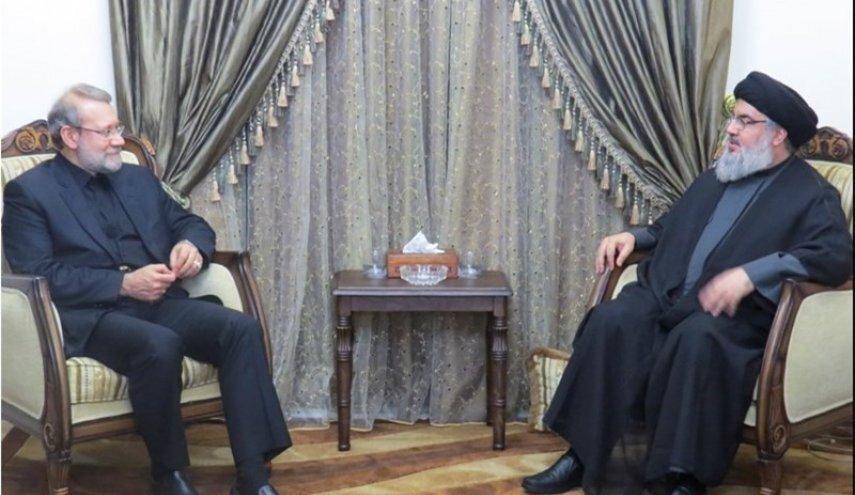 Larijani reviews regional developments with Nasrallah