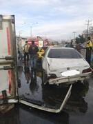 نجات مصدوم تصادف زنجیرهای در کرمان