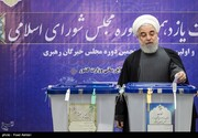 Pres. Rouhani casts vote in parliamentary, Assembly of Experts elections