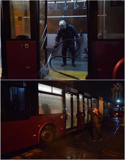 شستشو و ضدعفونی کردن اتوبوسهای پایتخت برای مقابله با کرونا ویروس