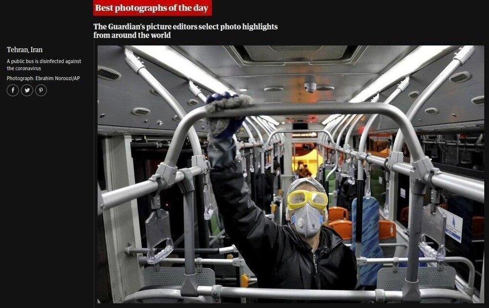 تصویری از ضدعفونی کردن ناوگان حمل و نقل مترو تهران که به عنوان عکس روز گاردین انتخاب شد