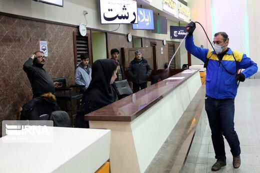 انجام تست کرونا و ضدعفونی در پایانه مسافربری تبریز