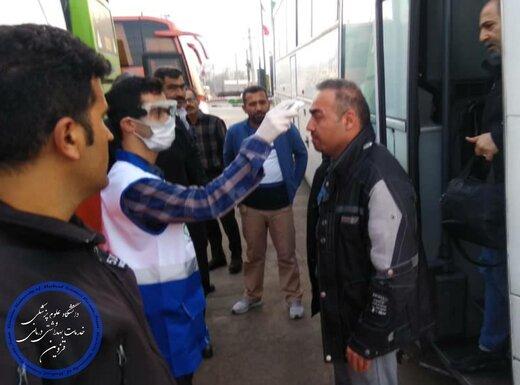 دمای بدن مسافران در ورودی شهر قزوین اندازه گیری میشود